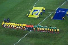 Brasilien u. Bafana Bafana - Gruppen-Foto Stockbilder