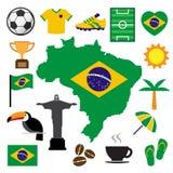Brasilien und Fußballikonensatz Stockbilder