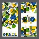 Brasilien- und Rio-Fahnen im abstrakten geometrischen Stil Entwerfen Sie für Abdeckungen, die touristische Broschüre und Hintergr Stockbilder