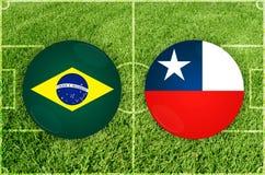 Brasilien vs den Chile fotbollsmatchen royaltyfri illustrationer