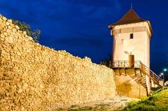 Brasov中世纪堡垒墙壁,罗马尼亚 库存照片