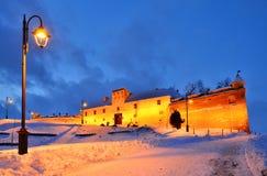 brasov城堡地标晚上罗马尼亚 免版税库存照片