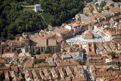 brasov罗马尼亚方形城镇 免版税库存照片