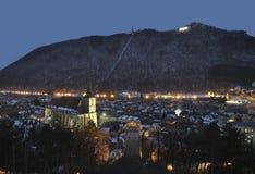 brasov都市风景晚上 免版税库存照片