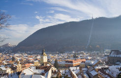 Brasov. Panorama over Brasov city, Romania stock photos