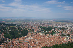 Brasov Bird eye view. The old town of Brasov in Romania stock images