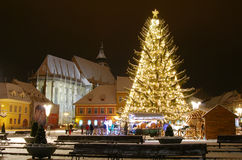 Brasov center in Christmas days, Romania Stock Image