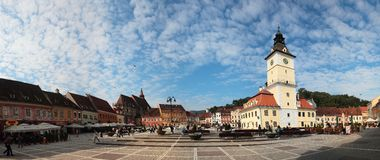 Brasov center city panorama and Council Square, Ro Royalty Free Stock Image