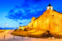 Brasov - Citadel, medieval fotress in Transylvania, Romania. Brasov, Romania - Stunning twilight HDR image with medieval hilltop fortress of Corona - The Citadel Stock Images