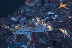 Brasov city. Night is falling over Brasov city stock images