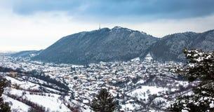 Brasov City panoramic view on winter season Royalty Free Stock Photos