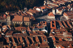 Brasov City, Romania aerial view Royalty Free Stock Images