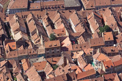 Brasov city seen from above. Medieval houses roofs Royalty Free Stock Images