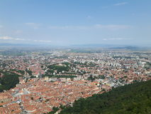 Brasov city. Seen from the mountain Tampa along with a female taking a picture of it stock photo