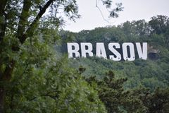 Brasov city sign. On top of Tampa stock photo