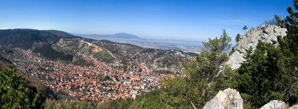 Brasov City (Transylvania). Old town of Brasov, seen from Tampa mountain Stock Image