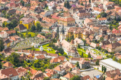 Brasov City View. First Romanian School In The City Of Brasov stock photo