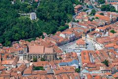 Brasov Council House, Black Church, and White Tower, historic center, viewed from above.  stock images