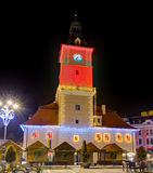 Brasov Council House decorated for Christmas at night, Brasov, Romania Stock Photo