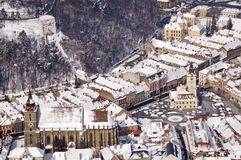 Brasov Council Square 2. Winter near Brasov, in a sunny day Stock Image