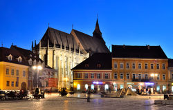 Brasov Council Square and Black Church, Romania Stock Images