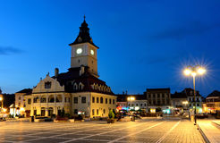 Brasov Council Square, night view in Romania. Brasov Council Square, twilight view, Transylvania, Romania royalty free stock image