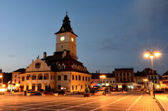 Brasov Council Square, night view in Romania royalty free stock photography