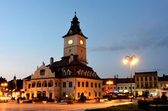 Brasov Council Square, night view in Romania Stock Photography