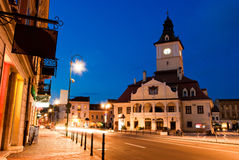Brasov Council Square at twilight Stock Photo