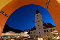 Brasov Council Square at twilight Stock Photos