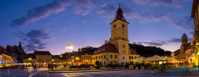 Brasov Council Square at twilight Royalty Free Stock Images