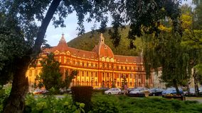Brasov county council building in Transylvania, Romaniaa. Brasov, Romania - July 25, 2017: Beautiful Brasov county council building in Transylvania, Romania royalty free stock image