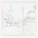 Brasov downtown sketch. Graphic sketch of Brasov Council Suare and Black Church, Romania, drawn by hand Stock Photos