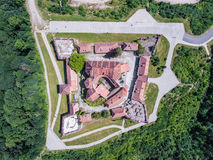 Brasov Fort top down view. Brasov city from above. Aerial view with the most important touristic attractions like Piata Sfatului main city square, The Black Royalty Free Stock Photos