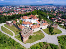 Brasov fortress aerial view. Brasov city from above. Aerial view with the most important touristic attractions like Piata Sfatului main city square, The Black Royalty Free Stock Image