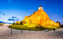 Brasov Fortress, Romania. Brasov, Romania. HDR sunset twilight view of Brasov Fortress ( The Citadel or Fortress Hill ), part of the city outer fortification Royalty Free Stock Image