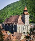 Brasov historisk medeltida architecure, Transylvania Royaltyfri Fotografi