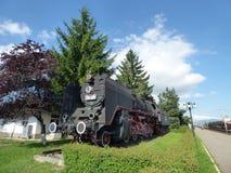 BRASOV - JUNI 24: Gammal ångalokomotiv på skärm i den Brasov järnvägsstationen Foto som tas på Juni 24 i Brasov, Rumänien Royaltyfria Bilder