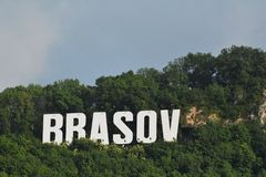 Romania Brasov sign on Tampa. Brasov logo on Tampa Hill, Romania royalty free stock photos