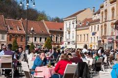 Brasov main square bistros Royalty Free Stock Photography