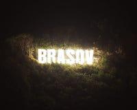 Brasov miasto podpisuje wewnątrz Rumunia Zdjęcie Royalty Free