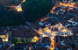 Brasov old city at dusk time, Romania Royalty Free Stock Images