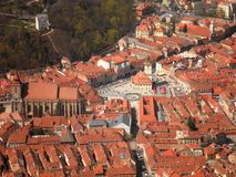 Brasov Old Town. Aerial view of the old town of Brasov, Romania royalty free stock images