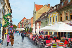 Brasov Old Town street. Romania Royalty Free Stock Images