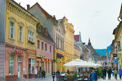 Brasov Old Town street. Romania Stock Photo