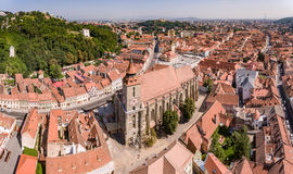 Brasov panorama. Brasov city from above. Aerial view with the most important touristic attractions like Piata Sfatului main city square, The Black Church and the royalty free stock images