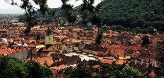 Brasov Panorama - Romania. The old city of Brasov - view from the Warthe Belvedere Royalty Free Stock Image