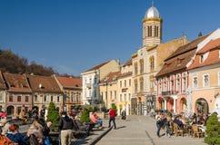 Brasov-Rats-Quadrat-historische Mitte stockbilder