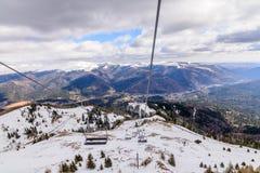 Brasov, Romênia - 14 de março: Montanhas de Bucegi o 14 de março de 2016 mim Fotografia de Stock