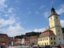 Brasov, Romania. Brasov's old city center, Romania – the Council square, and in the middle of it the Town Hall Stock Photography